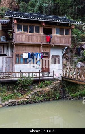 Zhaoxing, Guizhou, China, a Dong Minority Village House. - Stock Photo