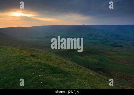 Sunset over the Vale of Edale, Edale Valley, Derbyshire, Peak District National Park, England, UK - Stock Photo
