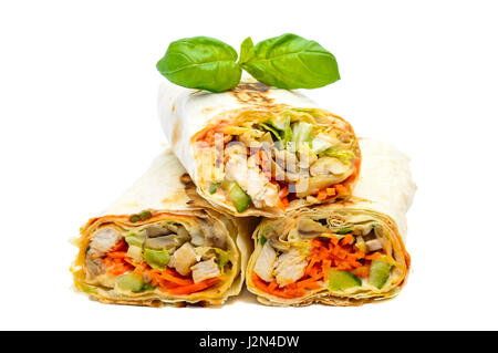 Traditional Middle Eastern food - shawarma. Lavash stuffed with chicken, vegetables, mushrooms and sauce. Isolated - Stock Photo