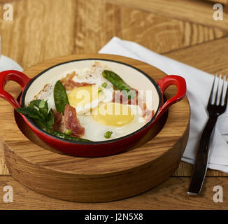 bacon and eggs in restaurant - Stock Photo