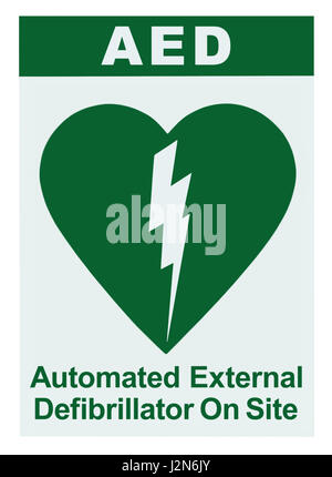 AED Automated External Defibrillator Inside On Site Text, Green Icon, White Sign Sticker Label Isolated Vertical, - Stock Photo
