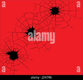 Three bullet holes in black line over a red background - Stock Photo