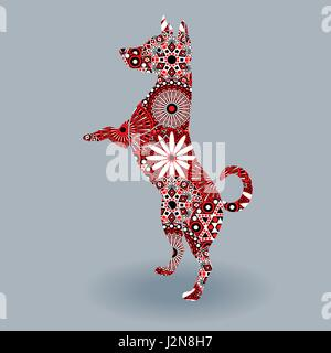 Standing Dog, vector stencil silhouette fill with stylized flowers in red, white and black colors on a grey background - Stock Photo