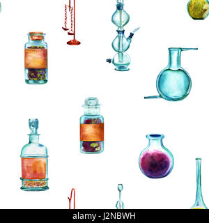 Vintage Science seamless background pattern with chemistry objects. Jars, bottles, containers, apparatuses, hand - Stock Photo