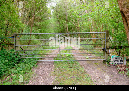 Private woodland no entry sign gate woods forest chain barbed wire - Stock Photo