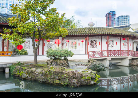 Pagoda and pond, Dr Sun Yat Sen Park and Gardens, Chinatown, Vancouver, British Columbia, Canada - Stock Photo