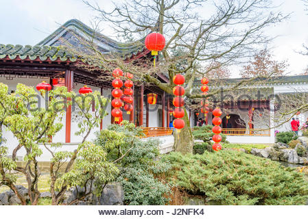 Pagoda and red Chinese lanterns, Dr Sun Yat Sen Park and Gardens, Chinatown, Vancouver, British Columbia, Canada - Stock Photo