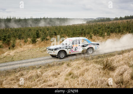 Wark, UK - 29th April, 2017: Rally car taking part in the Pirelli International Rally 2017 (Historic Section).  - Stock Photo