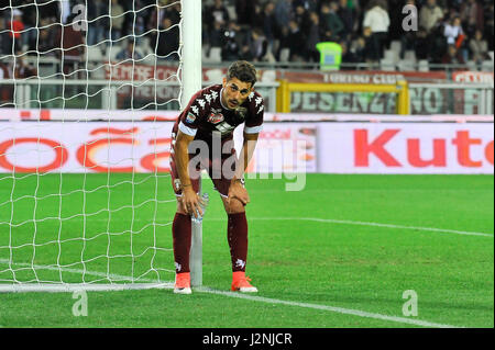 Turin, Italy. 29th April, 2017. Danilo Avelar post match Serie A TIM between Torino FC and Sampdoria. Stadio Olimpico - Stock Photo