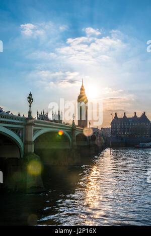 Big Ben backlit, Houses of Parliament, Westminster Bridge, Thames, City of Westminster, London, London region, England