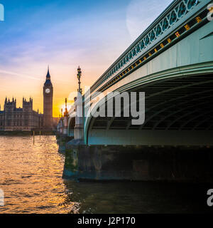 Big Ben backlit, Sunset, Houses of Parliament, Westminster Bridge, Thames, City of Westminster, London, London region, - Stock Photo