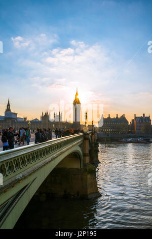 Big Ben backlit, Houses of Parliament, Westminster Bridge, Thames, City of Westminster, London, London region, England - Stock Photo