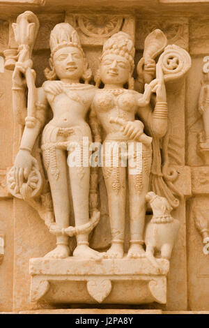 Carved figures on the side of the ancient Hindu Temple of Jagat Shiromani in Amber village near jaipur, Rajasthan, - Stock Photo