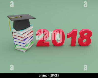 New Year 2018 - 3D Rendered Image - Stock Photo