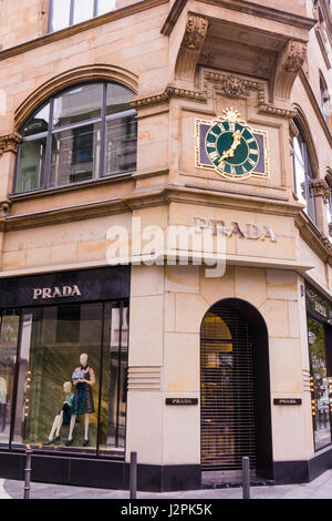 prada logo on the prada store in downtown vancouver bc canada stock photo royalty free image. Black Bedroom Furniture Sets. Home Design Ideas