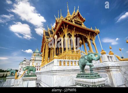 The Ananta Samakhom Throne Hall in Thai Royal Dusit Palace and green Elephant statues in Bangkok, Thailand - Stock Photo