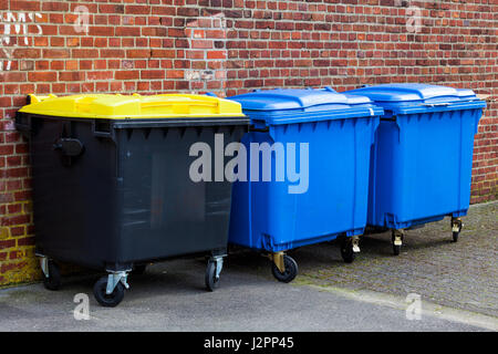 Recycle Bins. Three plastic bins - Stock Photo