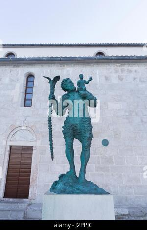 Statue of Saint Christopher beside St. Mary the Blessed, Rab Town, Rab Island, Croatia - Stock Photo