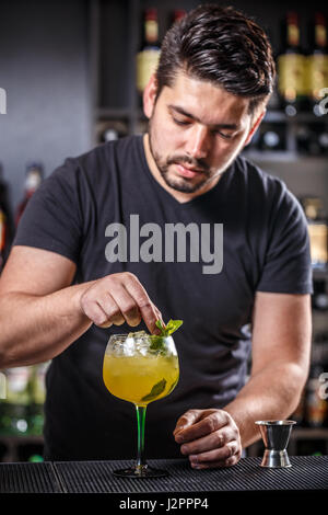 Barman is decorating cocktail with mint leaf - Stock Photo
