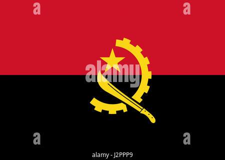 Illustration of the national flag of Angola. - Stock Photo