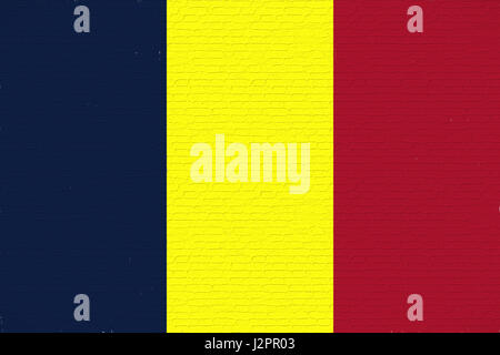 Illustration of the national flag of Chad looking like it is painted on a wall. - Stock Photo