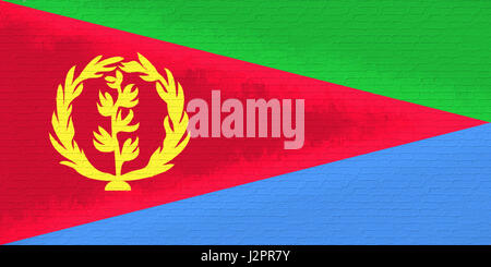Illustration of the national flag of Eritrea looking like it is painted on a wall. - Stock Photo