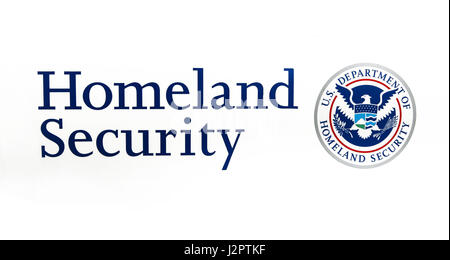 US Department of Homeland Security seal and caption on white background. - Stock Photo