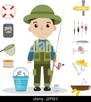 Fishing icon set, flat, cartoon style. Fishery collection objects, design elements, isolated on white background. - Stock Photo