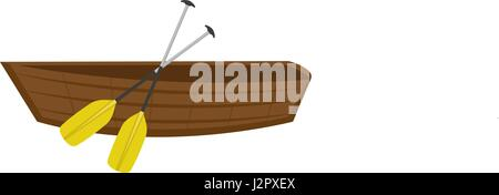 Wooden boat with paddles. icon flat, cartoon style. Isolated on white background. Vector illustration, clip-ar. - Stock Photo