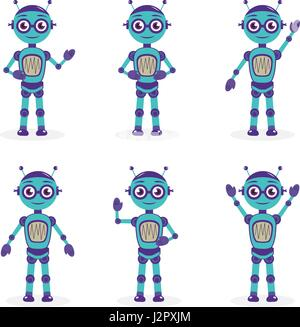 Cartoon mascot robot, robot character. Robot in different poses. Robot mascot logo. Vector illustration. - Stock Photo