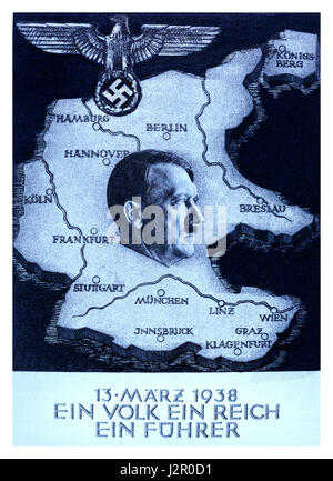 1930's Propaganda 'Anschluss' poster by Adolf Hitler 'One People..One Reich..One Führer'  Austria was annexed into - Stock Photo