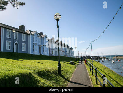 The charming Georgian port town of Aberaeron on the Cardigan Bay Coast, Ceredigion, West Wales with sailing boats - Stock Photo