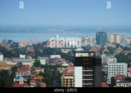 Phnom Penh city centre and skyline - Cambodia's capital city showing the Mekong River where it meets the Tonle Sap - Stock Photo