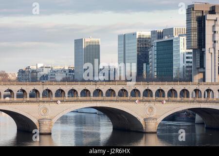 Pont de Bercy, Bercy Bridge and Seine River, Paris, France - Stock Photo