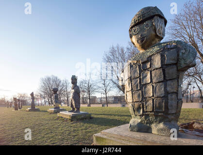 French sculptor Rachid Khimoune's Children of the World, 21 sculptures in honor of children's rights, Parc de Bercy, - Stock Photo
