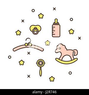 Cute baby line icon vector illustration. - Stock Photo