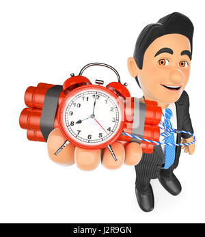 3d business people illustration. Businessman holding a time bomb. Isolated white background. - Stock Photo