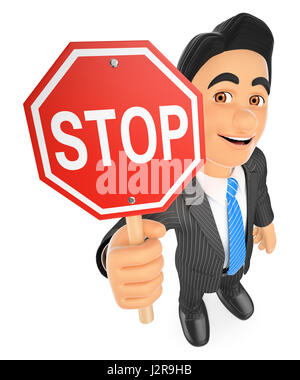 3d business people illustration. Businessman with a stop sign. Isolated white background. - Stock Photo