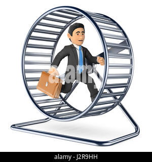 3d business people illustration. Businessman running on a hamster wheel. Isolated white background. - Stock Photo