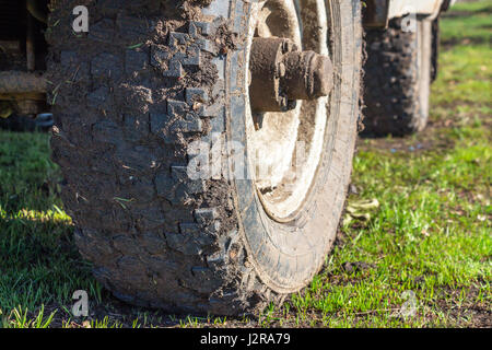 Dirt on the tire close-up - Stock Photo