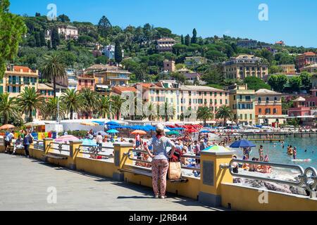 beach and hotels in santa margherita ligure, italy - Stock Photo