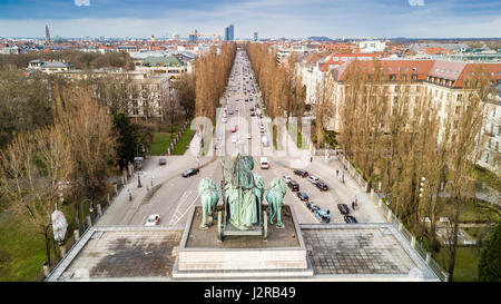 View of the Leopoldstrasse seen from the Siegestor , Munich (Germany) - Stock Photo