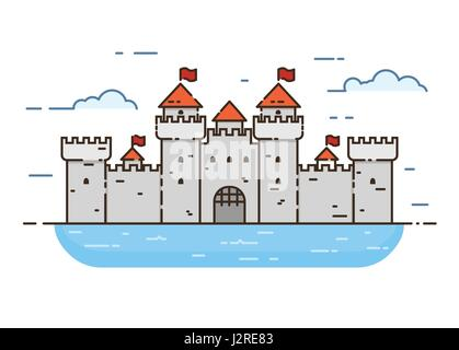 Linear style castle color vector illustration. Medieval castle with towers and walls with flags, surrounded by water. - Stock Photo