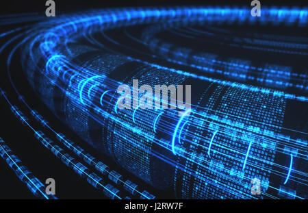 3D illustration, abstract background, technology concept. Binary tubes and connections. - Stock Photo