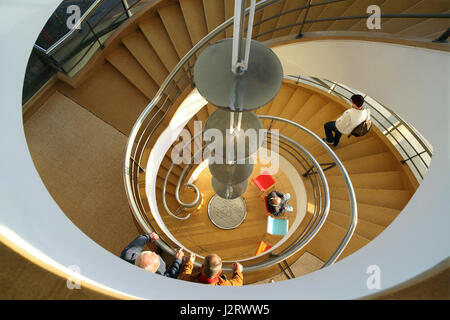 Looking down a spiral staircase at the De La Warr Pavilion, Bexhill, East Sussex - Stock Photo