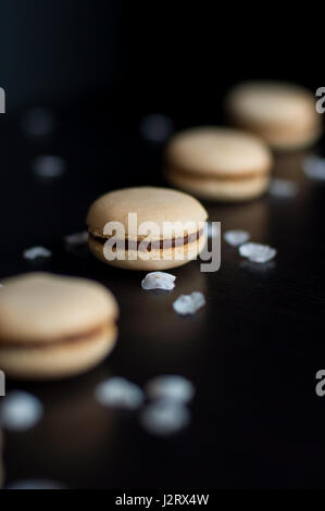 Macaroons with chocolate cream ordered in line decorated with pebbles - Stock Photo