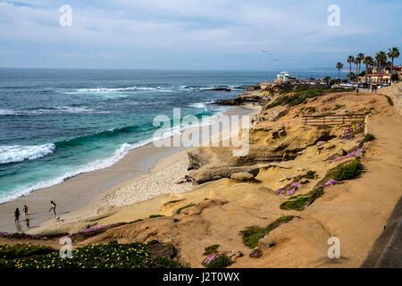 La Jolla Cal9ifornia beach and life guard station - Stock Photo
