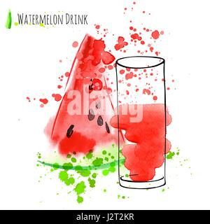 Watermelon drink with slice of watermelon. Fresh juice in glass with watermelon peace. Watercolor hand draw art - Stock Photo