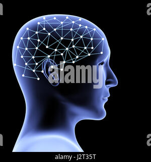 Transparent head of person and neural network of brain. Isolated on black background. 3d render - Stock Photo