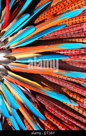 Multi-colored feathers in native american indian chief headdress. Close-up photo - Stock Photo